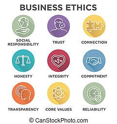 éticas, conjunto, empresa / negocio, icono