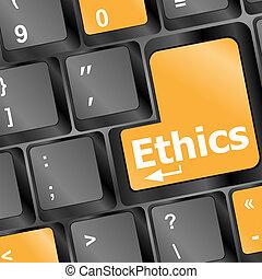 éticas, lectura, llave, teclado