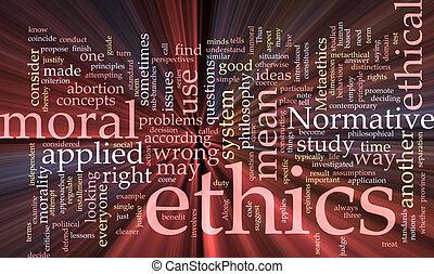 éticas, nube, encendido, palabra