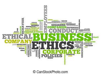 éticas, palabra, nube, empresa / negocio
