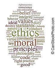 éticas, palabra, principios, nube