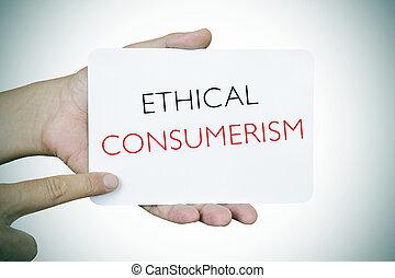 ético, consumerism, texto, signboard, vignetted, homem