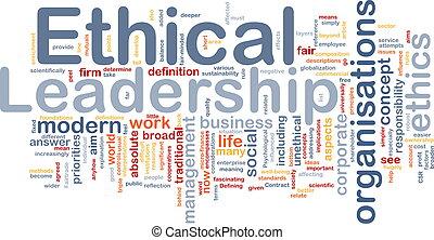 ético, liderazgo, plano de fondo, concepto