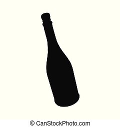 étincelant, alcoolique, bouteille, boisson, silhouette., champagne, vin
