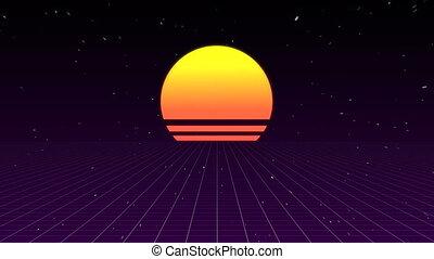 étincelant, coucher soleil, fond