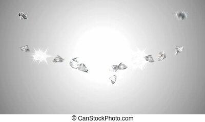 étincelant, grand, diamants, couler