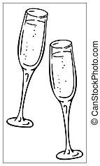 étincelant, illustration, conception, grands traits, icône, vin, deux, lunettes, logo, toile, vecteur, ui., app, champagne.