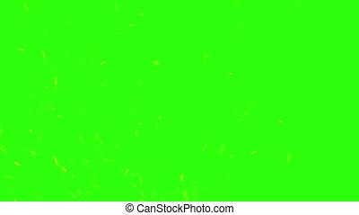 étincelles, brûler, écran, vert