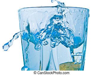 étincelles, de, eau bleue, sur, a, fond blanc