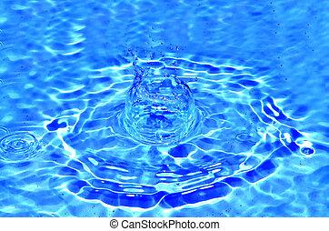 étincelles, eau bleue