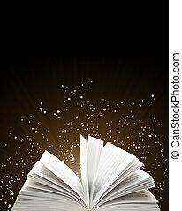 étincelles, livre ouvert, magie