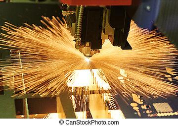 étincelles, métal, cutting., usinage, laser