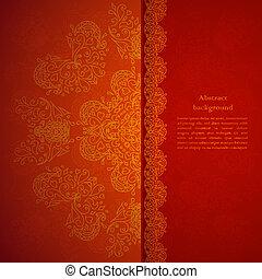 étincelles, ornement, arrière-plan rouge