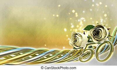 étincelles, roses, concept, -50, anniversaire