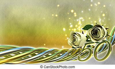 étincelles, roses, concept, anniversaire