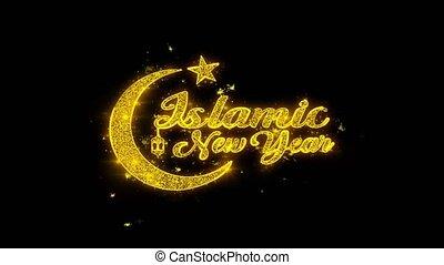 étincelles, texte, particules, noir, arrière-plan., souhait, année, nouveau, islamique