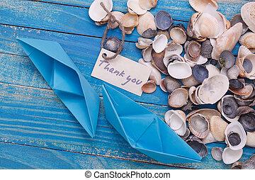étiquette, à, les, mots, remercier, you., bateau papier, à, a, signe
