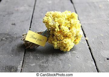 étiquette, à, merci, inscription, et, bouquet fleur