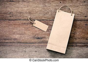 étiquette, achats, papier, fond, bois, sac, coût