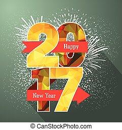 étiquette, année, nouveau, 2017, écusson, heureux