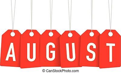 étiquette, août, rouges