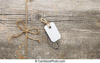 étiquette, attached., attaché, adresse, ficelle, arc