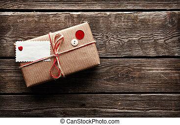 étiquette, boîte-cadeau, vide, vendange