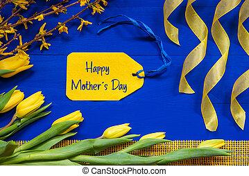 étiquette, branche, heureux, fleurs, décoration, jour, mères, ruban, printemps