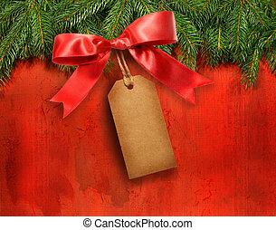 étiquette, branches, pin, cadeau