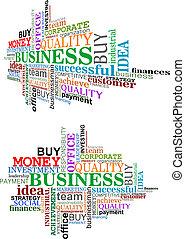 étiquette, business, nuage