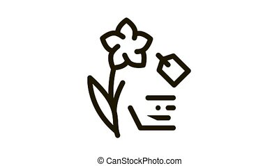 étiquette, coût, animation, fleur, icône