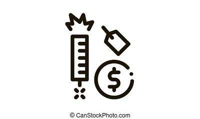 étiquette, coût, feud'artifice, animation, icône
