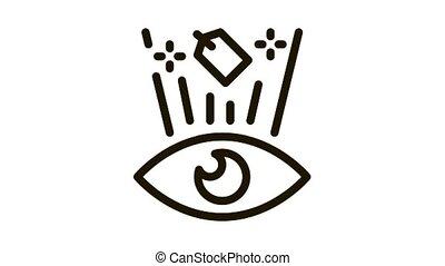 étiquette, coût, voir, animation, oeil, icône, humain