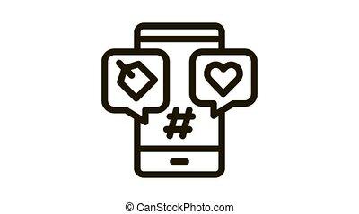 étiquette, coeur, icône, animation, téléphone