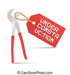 étiquette, construction, fond, sous, clé, blanc rouge