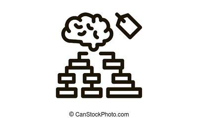 étiquette, diagramme, animation, hiérarchie, cerveau, icône