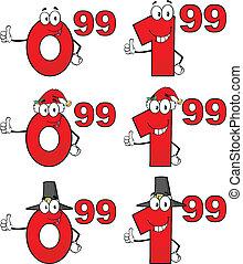 étiquette, ensemble, coût, collection, 6, nombres