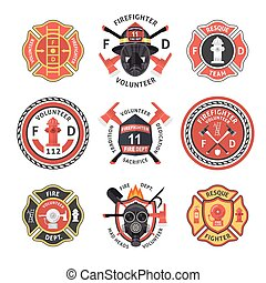 étiquette, ensemble, pompier