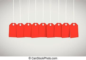 étiquette, ensemble, rouges