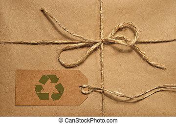 étiquette, espace, attaché, paquet, brun, expédition, copie, ficelle