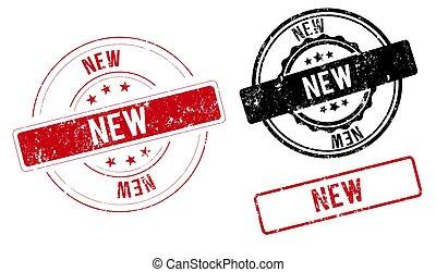 étiquette, gabarit, nouveau, bannière ruban, signe
