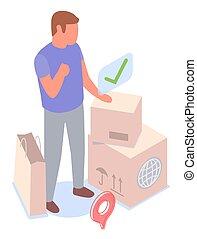 étiquette, homme, international, boîtes, service, livraison, colis, debout, client, autocollant