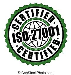 étiquette, iso, 27001, ou, certifié, autocollant