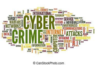 étiquette, mot, nuage, cyber, crime