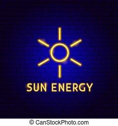 étiquette, néon, énergie, soleil