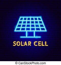 étiquette, néon, cellule, solaire