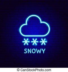 étiquette, neigeux, néon