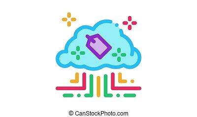 étiquette, nuage, animation, icône, internet