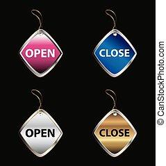 étiquette, ouvert, planche, signes fermés