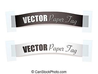 étiquette papier, argent, ruban
